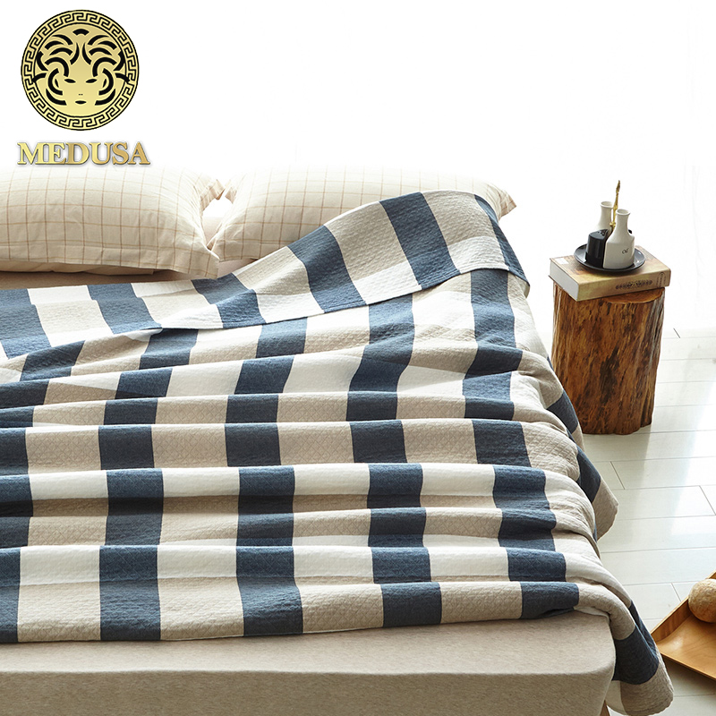 Medusa 100 washing cotton scotland plaid breathable throw blanket
