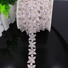5 Yard groothandel Zilveren bruids crystal clear rhinestone patch applicaties voor Bridal dress naaien tassel fringe DIY naaien op trim
