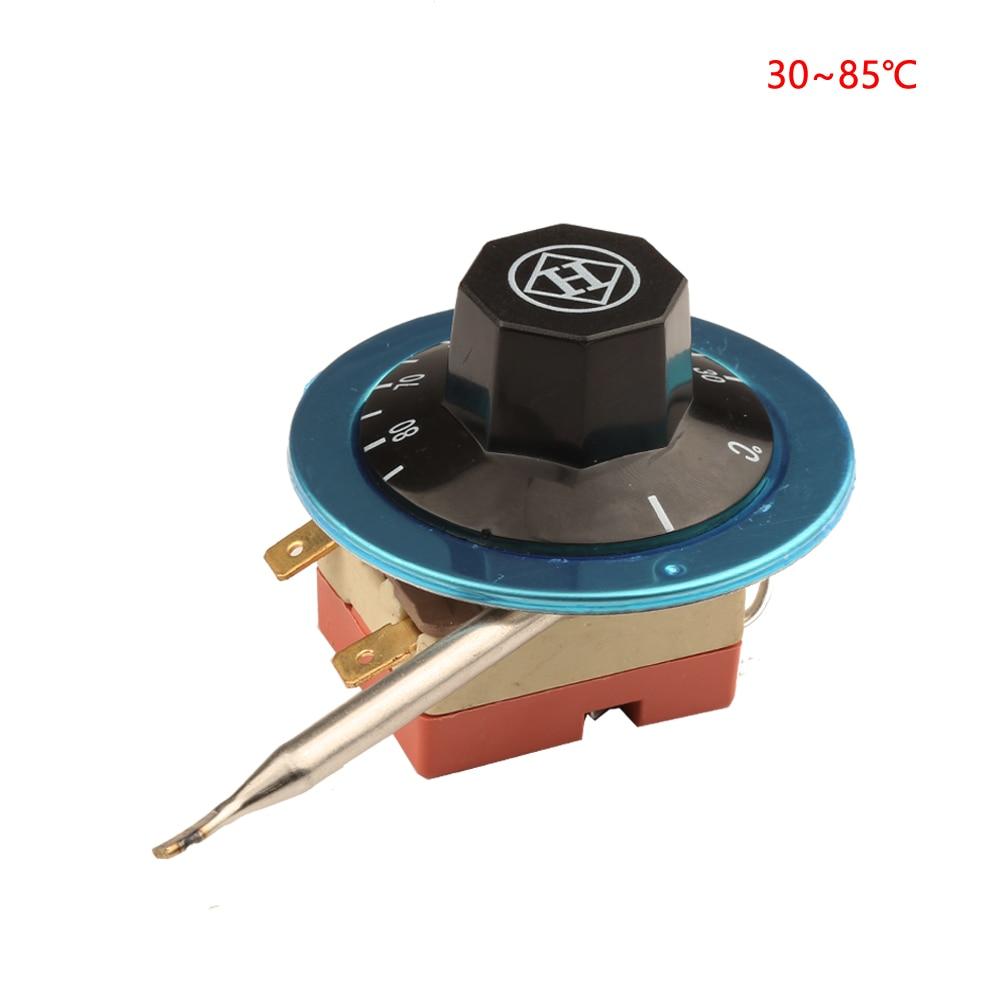 2-pólusú 30-85 Celsius fokozatú NC kapilláris termosztát 2 lábú edzőkapcsoló állítható hőmérséklet-szabályozó hővédő 220V