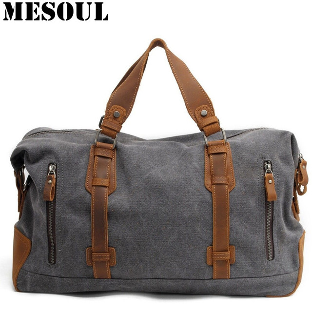 e69c6e3b02 2016 New Oversized Canvas Leather Trim Travel Tote Duffel Bags shoulder  handbag Weekend Bag Vintage Military Army Green Men Bags