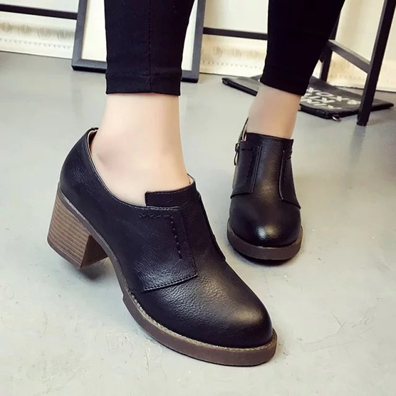 Fashion Thick Heels Boots font b Women b font Round Toe Shoes High Heels Pumps Shoes
