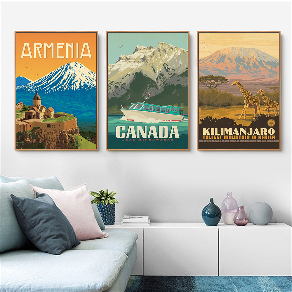 Wall Painting Landscape Art Vintage Poster Denali National Canada Austria Canvas Print Nordic Wall Picture For Living Room