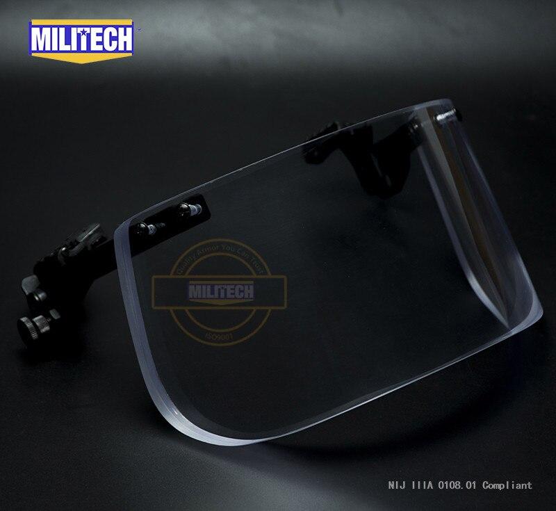 MILITECH NIJ 0108.01 IIIA 3A Ballistic Shield For ACH FAST Tactical Helmet Bulletproof Visor Bullet Proof Mask For Helmets
