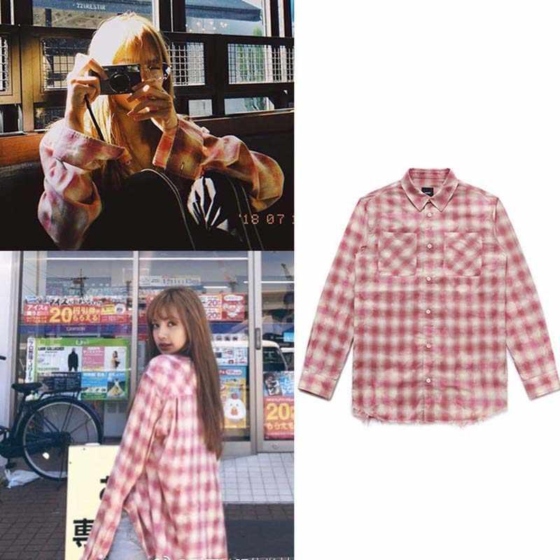 Новый Kpop BTS Bangtan мальчик Jungkook Blackpink Лиза Же Унисекс модная  клетчатая блузка Толстовка карман рубашки 992a3f93568ef