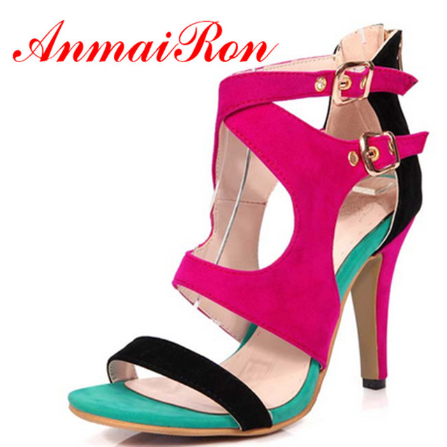 0846e2b10 ANMAIRON Patch High Sandals Fashion New Zip Thin Heels Design Latest Sexy  Dress Party Shoes for