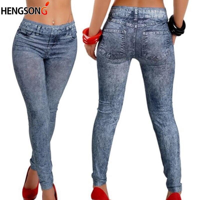 Fashion Women Casual Slim   Legging   Stretch Denim   Leggings   Jeggings Spring Autumn Denim   Leggings   Blue Pleated Slim All Match