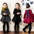 Vestidos da menina 2015 Crianças Primavera Inverno meninas arco vestido cor sólida Puff mangas compridas vestidos Bebê Crianças de varejo de vestuário natal