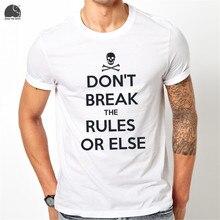 EnjoytheSpirit Men's Short Sleeve T-shirt Cotton White Slim Fit Tee Shirt Letter Print DON'T BREAK THE RULES O-neck Summer Tops