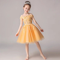 Little Kids Baby Sweet Shoulderless Collar Birthday Evening Party Princess Lace Dress Girls Children Host Tutu Piano Mesh Dress
