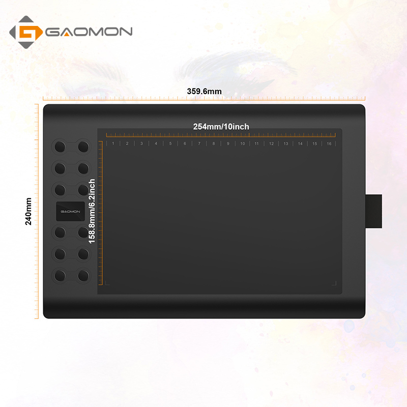 GAOMON M106K - 10 x 6 Inches Professional Drawing Digital Graphic Board Pen Tablet with Rechargeable Pen