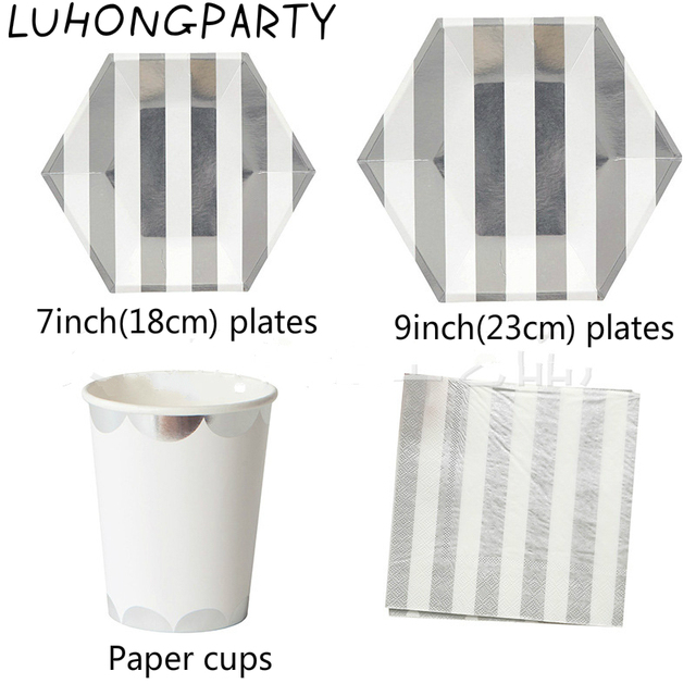 68pcs High quality Gold Silver Foil Striped Paper Plates Cups Napkins Party Tableware Birthday Bridal Shower  sc 1 st  AliExpress.com & 68pcs High quality Gold Silver Foil Striped Paper Plates Cups ...