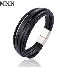 MINCN fashion leather belt wrist friendship large wide Bangle for men buckle Vintage Punk jewelry bracelet