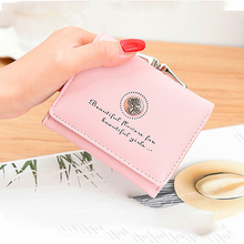 Ms. mini wallet retro style rose flower short paragraph purse female student three folding simple
