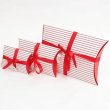 3 size choose 12pcs classic white red Striped candy gift paper box pillow Storage Boxes