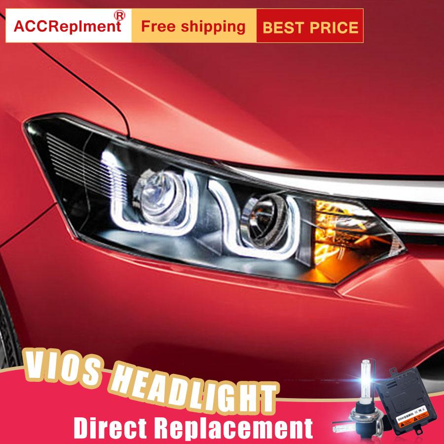 US $526 15 15% OFF 2Pcs LED Headlights For Toyota Vios 2013 2016 led car  lights Angel eyes xenon HID KIT Fog lights LED Daytime Running Lights-in  Car