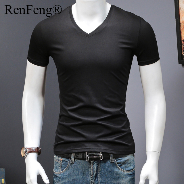 eb69ab053 Fashion Simple Blank T Shirt Men Cotton Summer Smooth 100% Silk T-shirt  Black White Gray Design Tops Tees Fitness Clothing Brand
