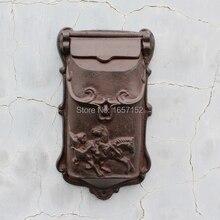Тиснением отделка Декор бронзовый чугунные почтовый ящик настенный почтовый ящик Высокое качество Декоративный Сад почтовых ящиков
