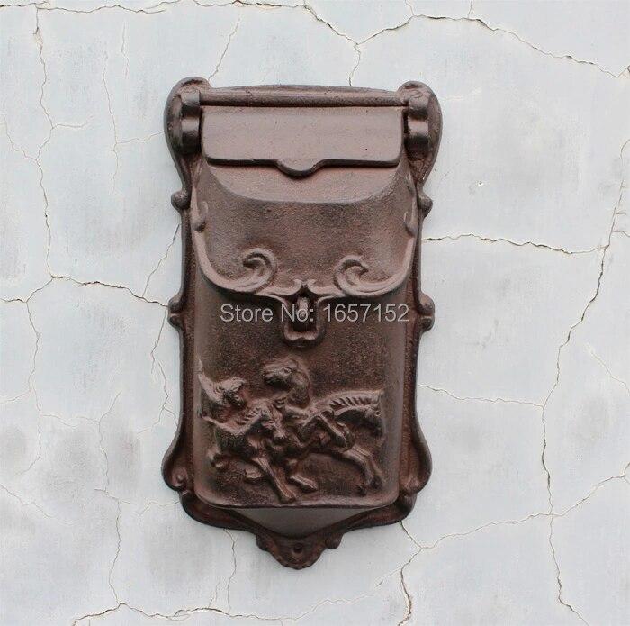 Embossed Trim Decor Bronze cast iron mailbox Wall mounted Mail Box High quality Garden Decorative mailbox