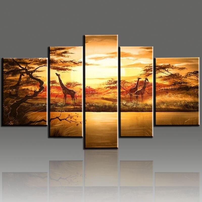 Quadro Grande Sala De Estar ~ Painted Wall Art African Forest Giraffes Quadros De Parede Sala Estar