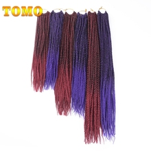 TOMO 14″ 18″ 22″ Crotchet Box Braids Hair Extensions Ombre Blonde Brown Burgundy Black Kanekalon Synthetic Crochet Hair