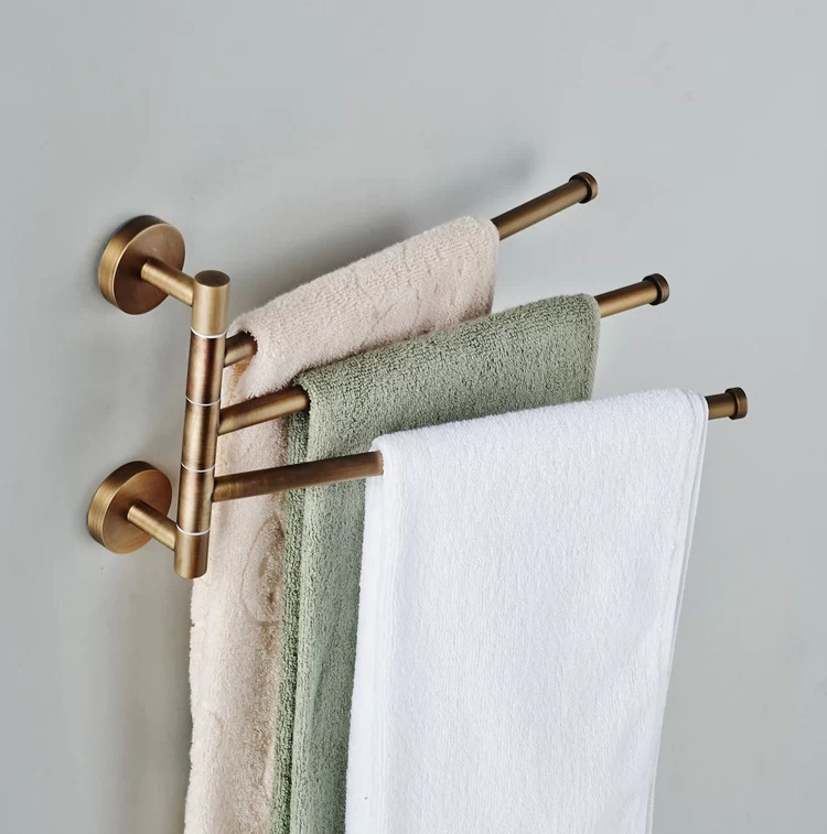 BECOLA Bathroom Towel Hanger Bronze Movable Rod Folding Rotary Rack Antique Activities 3 Bar BR 88013 In Racks From Home Improvement