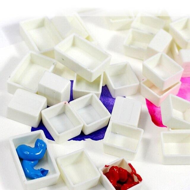 100 piezas 1,6 ml plástico vacío acuarela media pintura sartenes niños artista estudiante principiantes dibujo herramientas acuarela pinturas Mini caja