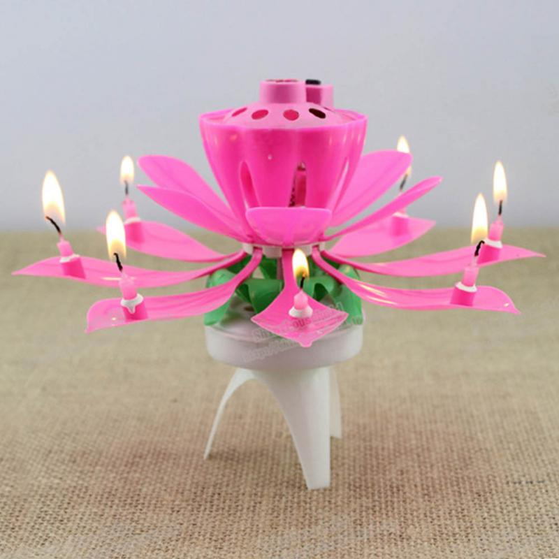 1pc Fashion Romantic Music Lotus Flower Candle Birthday Candles Musical Blossom PJ