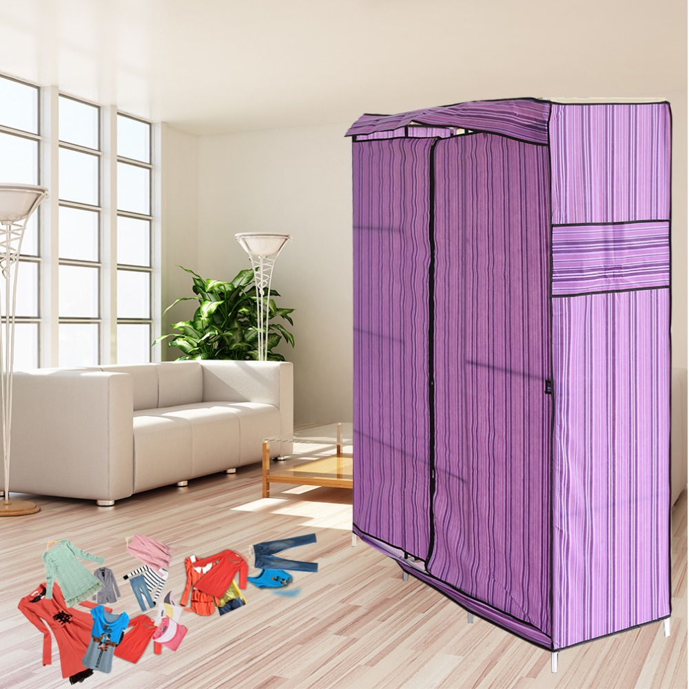 Blue Simple Design 68 Inch +70 Inch Folding Closet Wardrobe Clothes Stainless Rack Organizer Storage Wardrobe Cabinets wardrobe closet large and medium sized wardrobe cabinets simple folding reinforcement receive stowed clothes store content ark