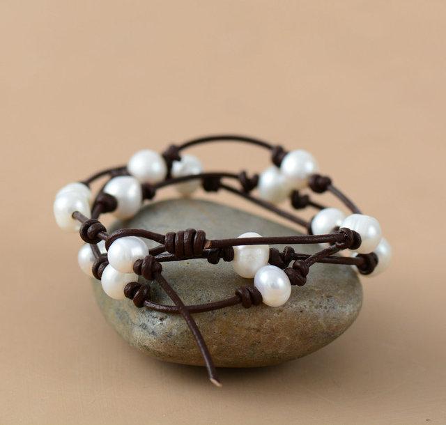 friendship bracelet Waxed cord bracelet gift for her! Fresh water pearls
