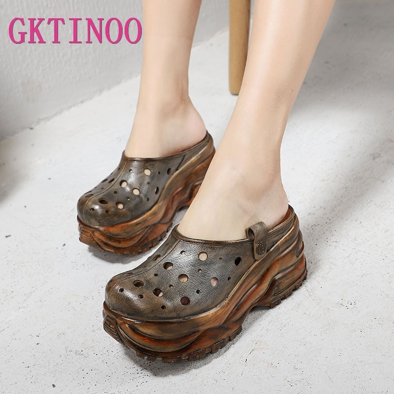 GKTINOO High Platform Slippers Shoes Woman Gray Real Cow Leather Lady Wedges Pumps Hollow Out Female