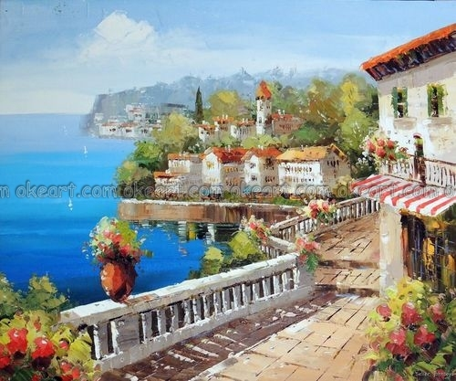 Oil Paintings Italian Coastal Towns