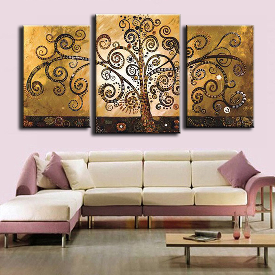 Əl ilə işlənmiş mücərrəd ev dekorasiyası 3 panel pul pulu - Ev dekoru - Fotoqrafiya 3
