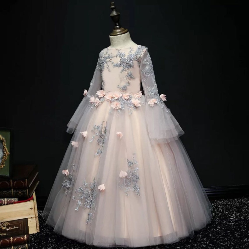 Pink Appliques Girl Dress Flower Girl Dress Party Pageant Lace Long Sleeve Princess Wedding Dress Girls First Communion GownPink Appliques Girl Dress Flower Girl Dress Party Pageant Lace Long Sleeve Princess Wedding Dress Girls First Communion Gown