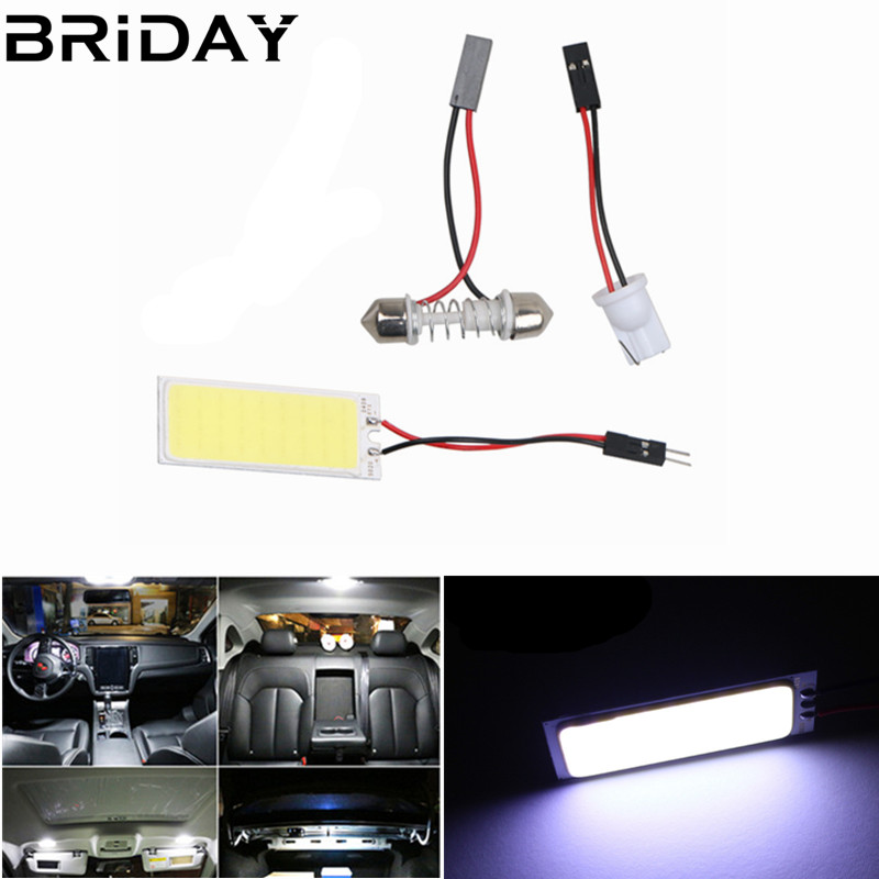 1set T10 Festoon 18/24/36/48SMD Cob Car Led Vehicle Panel Lamps Auto Interior Reading Lamp Bulb Light Dome 3Adapter DC 12v festoon 0 12w 3 smd vehicle