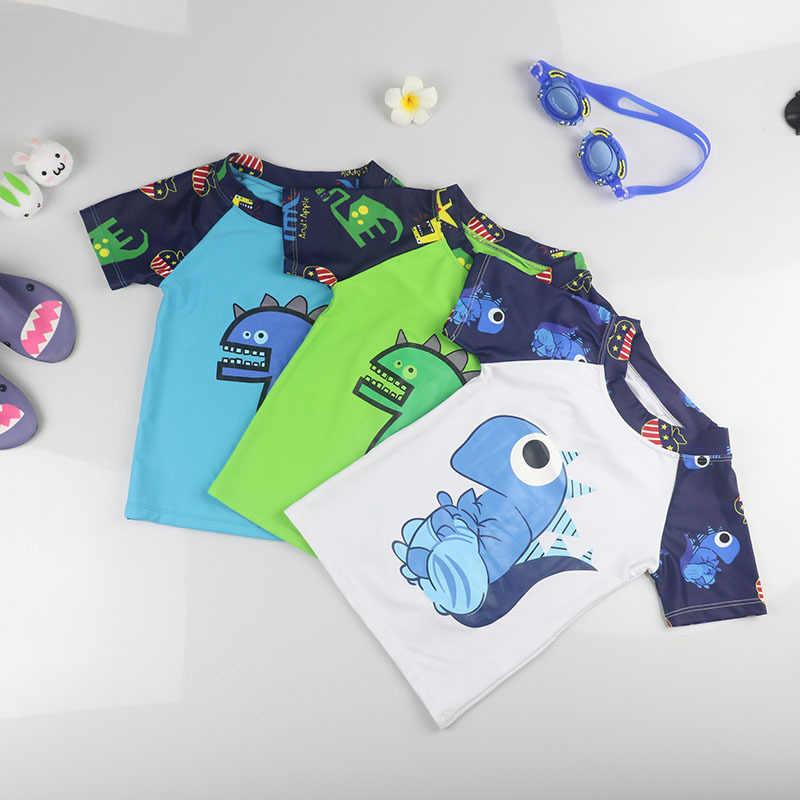 Детская одежда с рисунком динозавра из мультфильма Плавание костюм для малышей и детей постарше с УФ-защитой Плавание ming ванный комплект для маленьких мальчиков; сезон лето одежда для плавания, пляжа, одежда