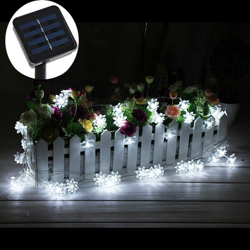 Lotus Flower Solar Powered String Lights 4.8M 20LED Lights For Garden Chrismas Patio Wedding Party Bedroom Outdoor Decor