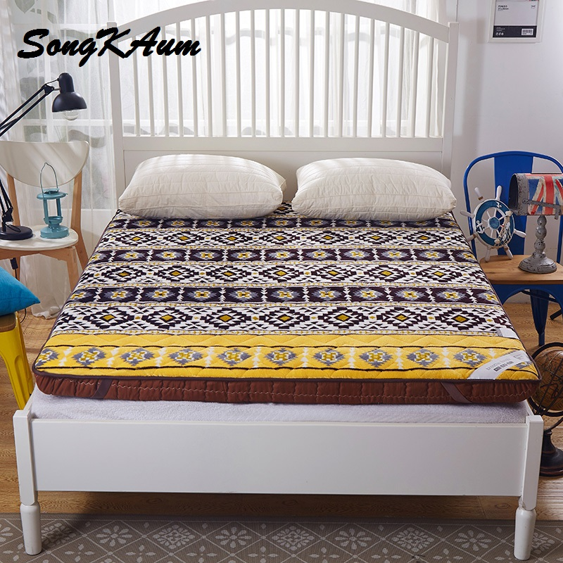 Thick Warm Flannel Printing Mattress 1.5/1.8 m Dormitory Mattress Hotel Bedding NEW Topper Quilted Bed Can Customizable