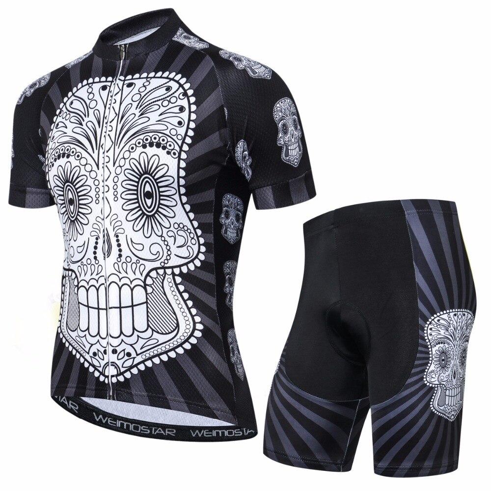 где купить 2018 WEIMOSTAR Men Summer skull Clothing Cycling Jersey Sets ropa ciclismo Bike racing team maillot short sleeve outdoor clothes по лучшей цене