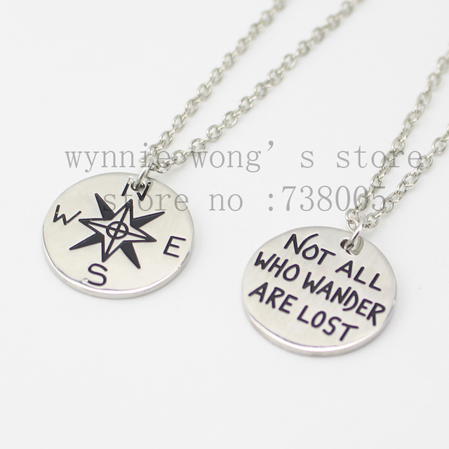 2015 new inspirational compass necklace not all who wander are 2015 new inspirational compass necklace not all who wander are lost pendant silver pendant aloadofball Images