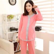 f466e77a3f7d Nueva moda verano embarazo pijamas Set ropa de maternidad lactancia mujeres  embarazadas luz Nusing pijamas ropa