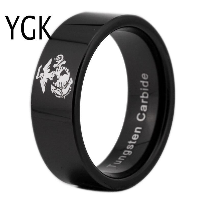 YGK Marque 8 MM Noir Tuyau Anneau Armée USMC Conception Hommes de Tungstène Comfort Fit Bague