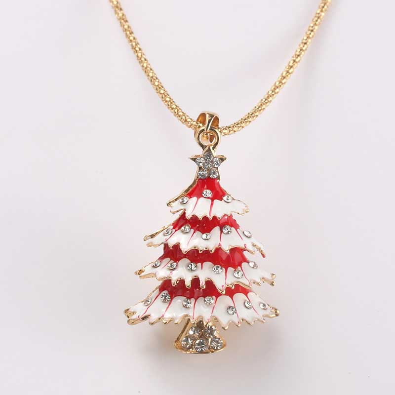 Red Christmas Tree Pendant Necklace Lady Crystal Rhinestone Long Sweater Chain Necklace Pendant Christmas Gift Jewelry