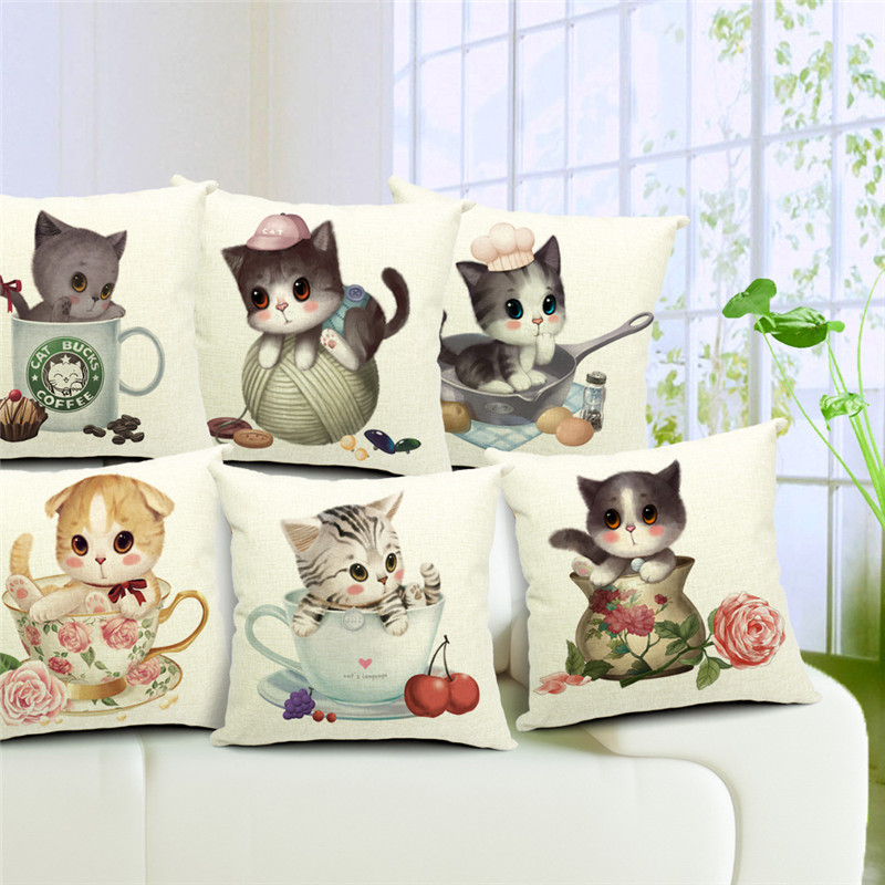 Lovely <font><b>Cat</b></font> Beautiful <font><b>Cup</b></font> Flower <font><b>Cake</b></font> Dot Cherry Rose Shy Animals Cushion Cover 43*43cm Square Throw Pillowcase Decor Garden Yard image