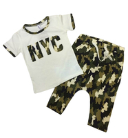 2014 New fashion summer children's clothing set Costume Camouflage T shirt dance Hip Hop harem capris pant kids suits