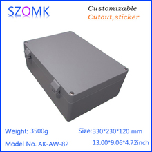 1 piece 330 230 120mm large hinged aluminum die casting waterproof electrical enclosure controller box