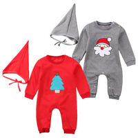 2Pcs Newborn Toddler Baby Boys Girl Christmas Xmas New Years Clothes Romper Hat Outfit Costume 0