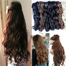 SNOILITE 5 clips on Curly Thick Hairpiece clip in Hair Extensions Heat Resistant Fiber Synthetic Hair One Piece Only For Human