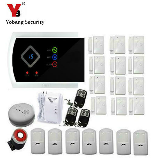 YobangSecurity Wireless Home Security Alarm System DIY Kit with Auto Dial Android IOS APP Control Russian Spanish Italian Slovak yobangsecurity wifi gsm gprs home security alarm system android ios app control door window pir sensor wireless smoke detector