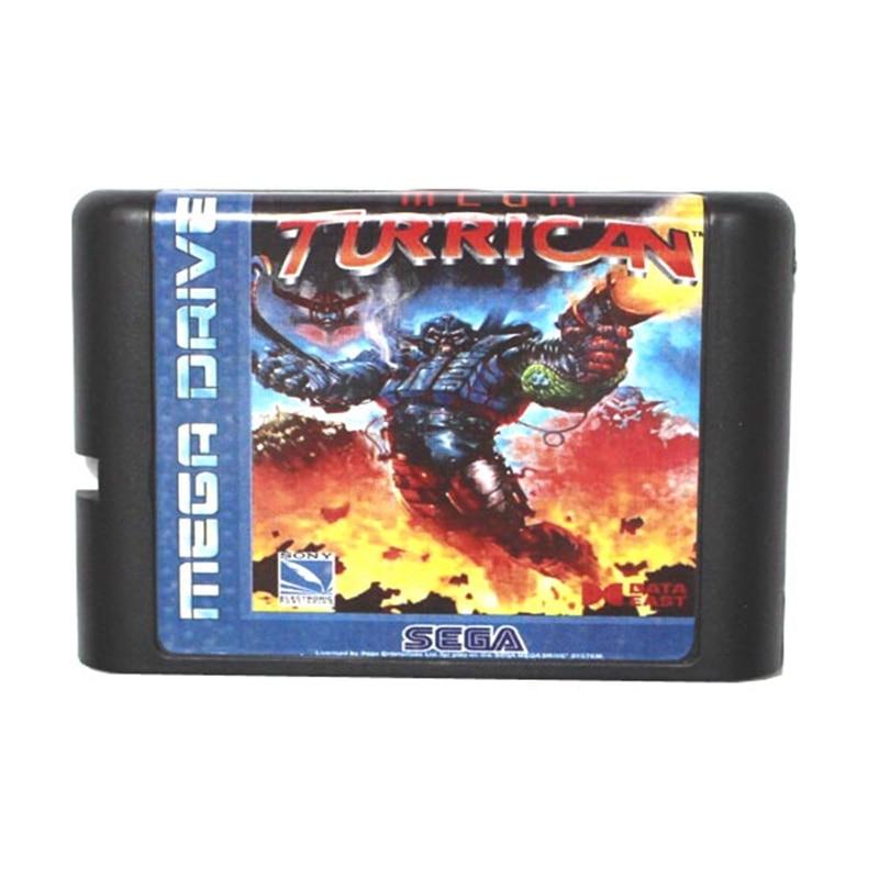 Mega Turrican 16 bit MD Game Card For Sega Mega Drive For Genesis game cartridge fire shark for 16 bit sega megadrive genesis game console