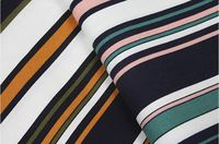 HLQON 100% cotton sateen multy colour stripe fabric for women clothing wedding dress upholstery for whole sale 10 meters